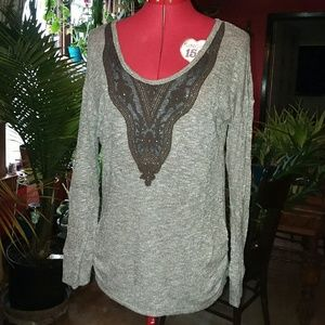 Ruched Sides Button Back Sweater. Maurices